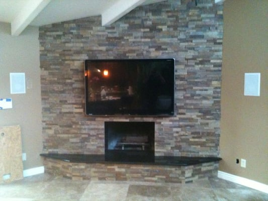 Plasma TV Installed Over Fireplace All Wiring Concealed Yelp