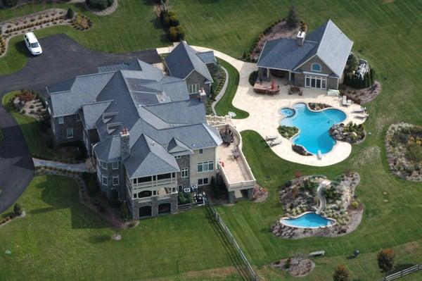 Ultimate backyard with pool house, pool with detached custom slide