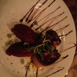 Foie gras with beet root purée and balsamic glaze