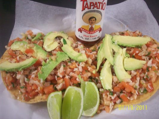 Mexican Ceviche Tostadas Tostadas de ceviche!