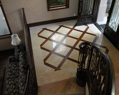Travertine & Hardwood Flooring Entryway | Yelp