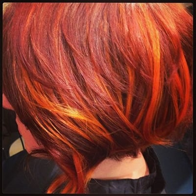 ... Red Chromatic Hair Color with Copper hair extension Highlights | Yelp
