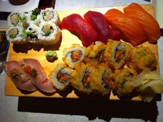 Spicy squid roll, tuna sushi, salmon sushi, Doug's spicy tuna tempura ...