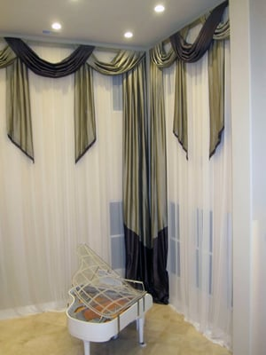 20 Foot High Silk Drapery With Swags And Cascades For Family Room Yelp