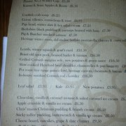 Sample menu: 12th December