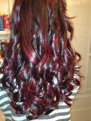Dark Red Hair with Highlights and Lowlights