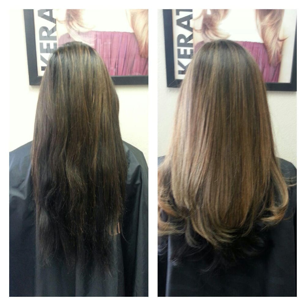 Trim with partial highlights and subtle ombre..before and after ...