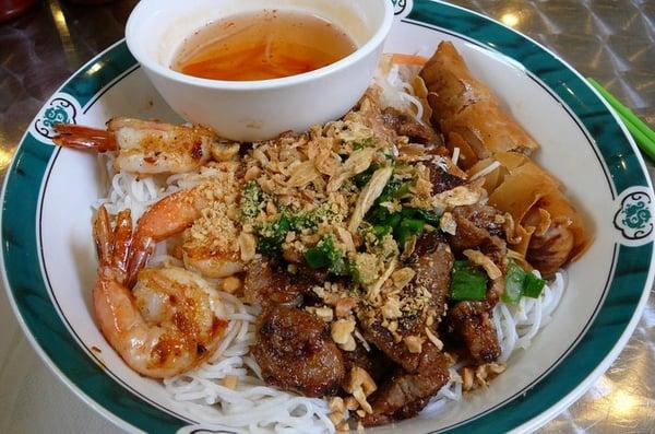 Bun Tom Thit Nuong, Cha Gio - Grilled Shrimp, Pork & Egg Roll over ...