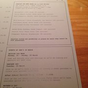Set menu and specials