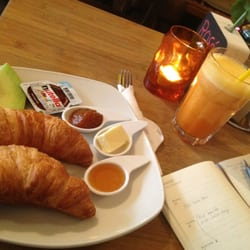 French Breakfast with a passion fruit/orange/strawberry juice.