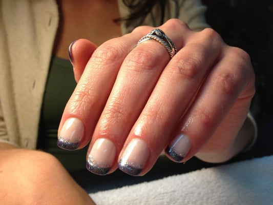 OPI Gel manicure:Blue and glitter french tip by Kim. | Yelp