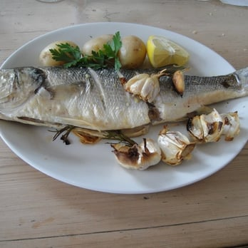 roasted sea bass with garlic and rosemary