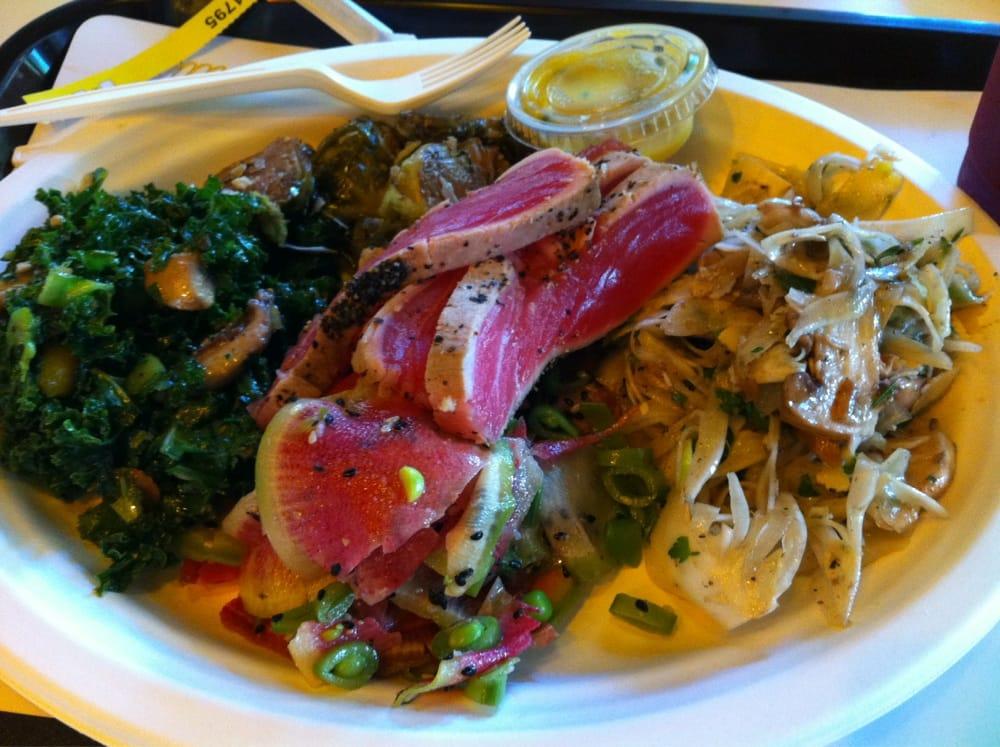 Ahi tuna, kale salad, Brussel sprouts, fennel, watermelon radish ...