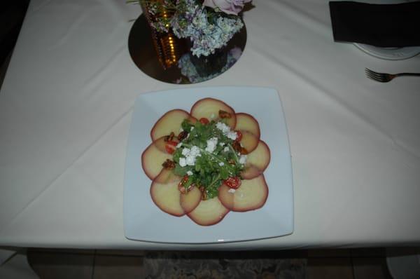 Sangria Beet Carpaccio, Arugula, Goat Cheese, Honey Walnut Vinaigrette ...