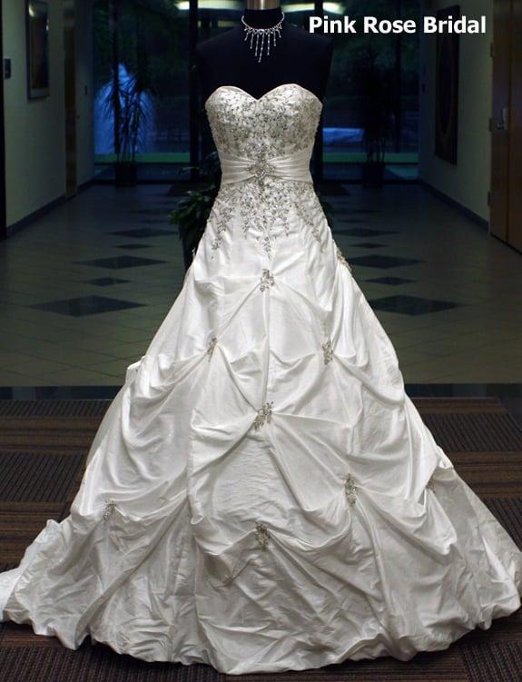 Pink rose bridal princess ball gown wedding dress yelp Rose pink wedding dress