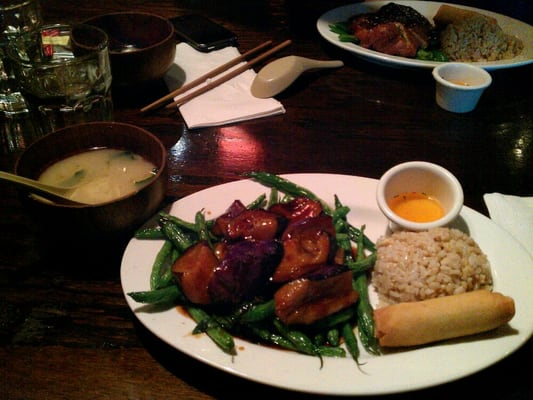 Miso soup with spring roll, eggplant, green bean in garlic sauce lunch ...
