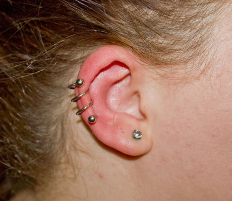 Triple helix piercing with spiral jewelry yelp for Helix piercing jewelry canada