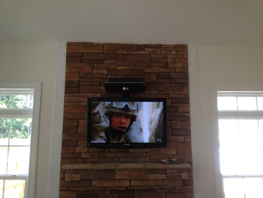 We Specialize In Fireplace TV Wall Mounting Brick Stone