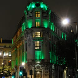 Exterior lit in green