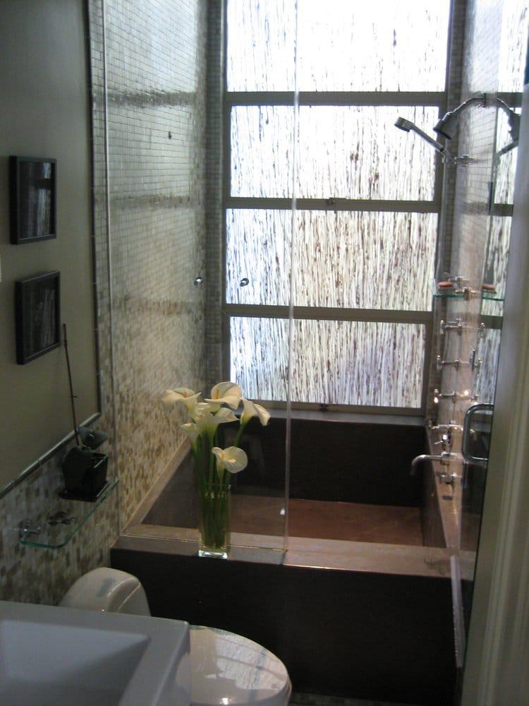 Small bathroom design includes steam double shower and for Bathroom ideas double shower