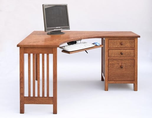 Our little craftsman corner desk will make you the executive in your own home office yelp - Making a corner desk ...
