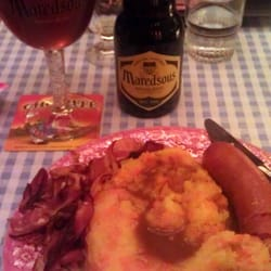 Hotch-potch and a Maredsous Tripel. I recommend both!