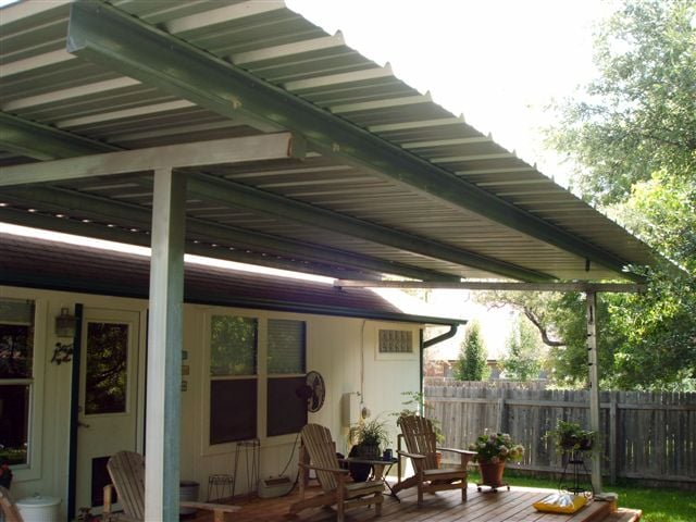 Patio cover free standing over deck all galvanized for Freestanding patio cover