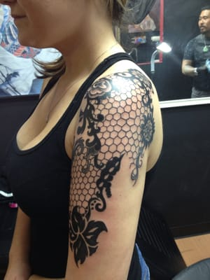 My lace half sleeve done by hung he did it all by hand for Lace half sleeve tattoo