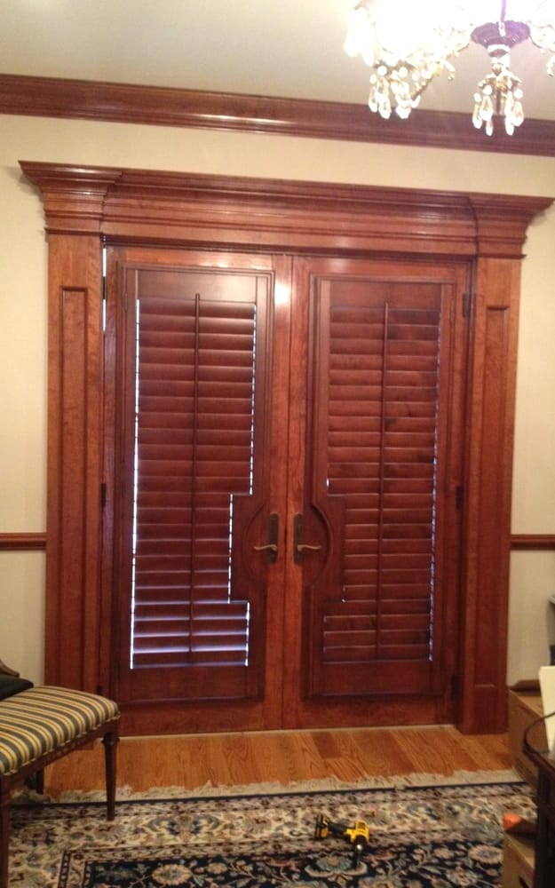 Custom Stained Plantation Shutters For French Door