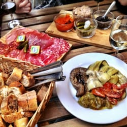 Bordeax, Prosecco, charcuterie, tapenade, antipasti, and bread