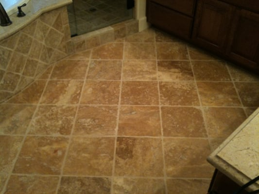 Tumbled Travertine Bathroom Floor After Cleaning