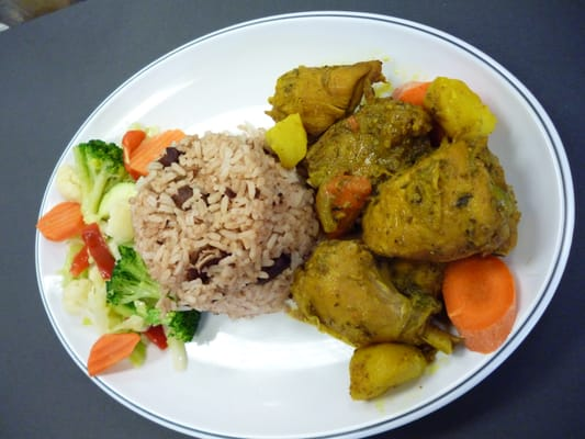 how to make curry chicken and rice and peas