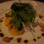 mozzarella with citrus fruit, almonds, and rocket