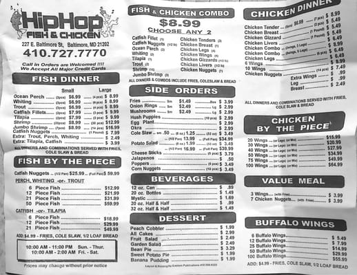 Menu yelp for Hip hop fish and chicken baltimore md
