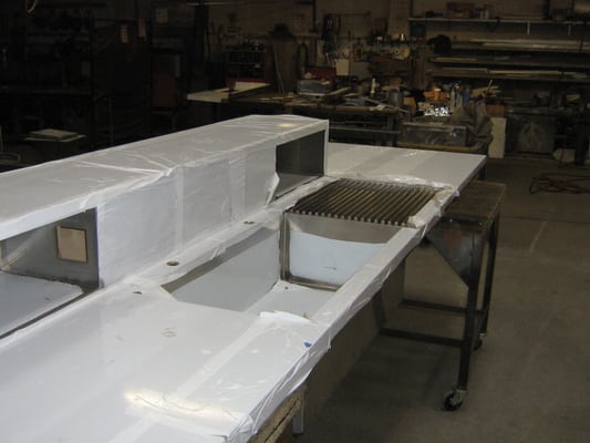 Commercial kitchen counter and sink stainless steel with plastic vinyl ...