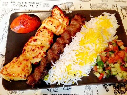 ... combination chicken and beg kabob saffron rice & Mediterranean salad