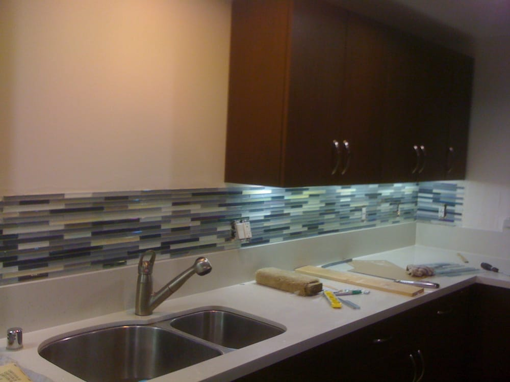 mosaic tile backsplash going in 1 2 inch thick solid glass tiles a