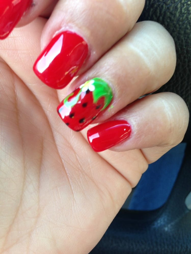 Strawberry nail art by Crystal | Yelp