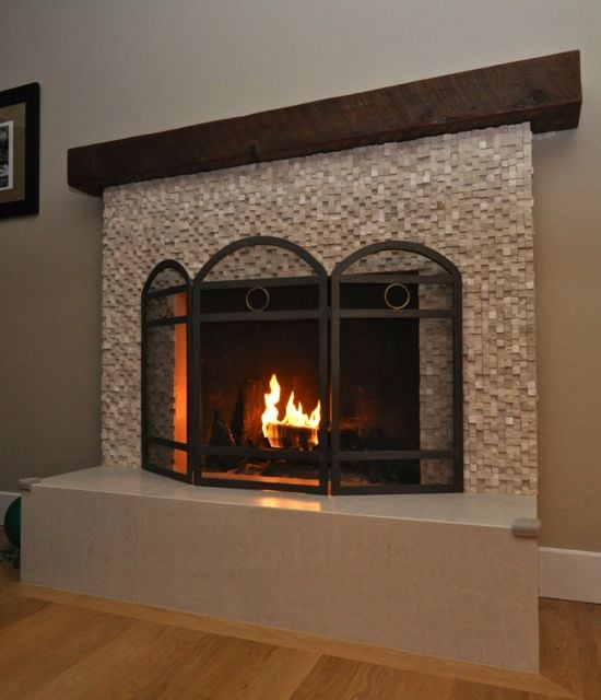 Fireplace Redo Wrapped Hearth And Base Huge Improvement Over 60s Brickwork My Place