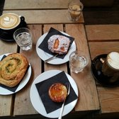 Cappuccino & soy latte with ginger/plum muffin, savory scone, and Portuguese egg tart