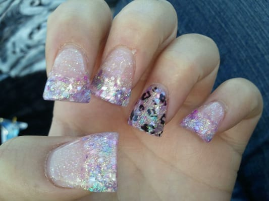 Crushed shells flared nails with cheetah | Yelp