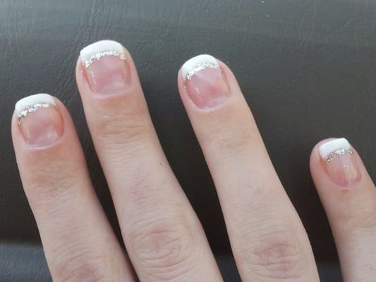 Gel French manicure with a little sparkle for fun! ;) | Yelp