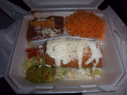 Shredded Beef Chimichangas w/Rice & Beans | Yelp