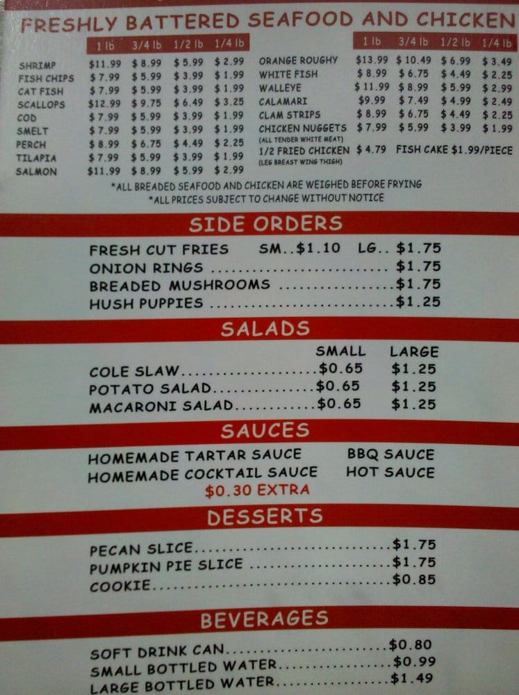 Fish n go menu yelp for J j fish menu