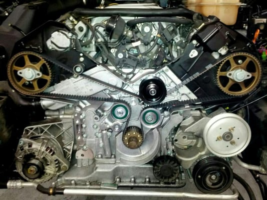 Timing belt service on audi a6 v8 yelp for Mercedes benz serpentine belt replacement cost