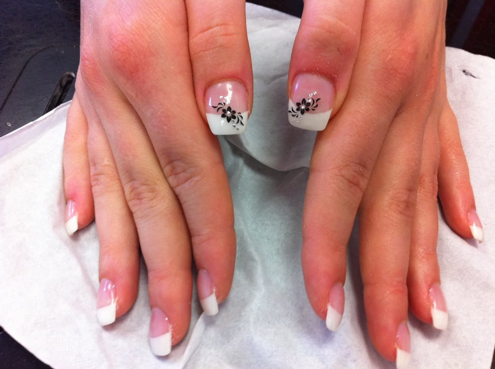 4 ongle gel blanc decor fleur sticker nail art french - Photos d ongles decores ...