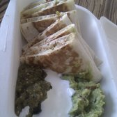 Chicken Quesadillas + Guacamole + Salsa verde + Sour cream = YES
