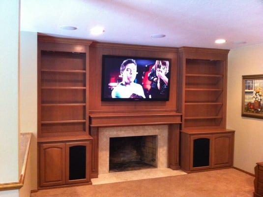 Tv Over A Fireplace With A Great Built In Customer Cabinet Yelp