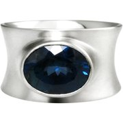 rub-over set sapphire ring