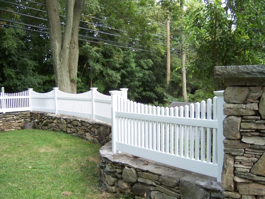 Victorian picket fence set on stone wall, in Westport, CT. | Yelp